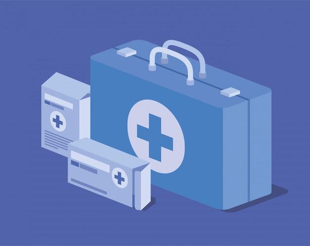 Medycyna zestaw pigułki medycyny pudełko