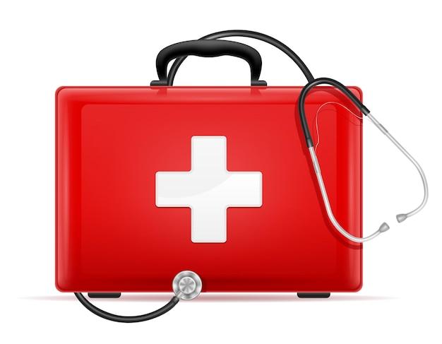 Medyczna apteczka pierwszej pomocy w przypadku zestawu ilustracji na białym tle .