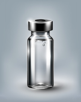 Medyczna buteleczka dla zastrzyka odizolowywającego na białym tle, przejrzysta ilustracja