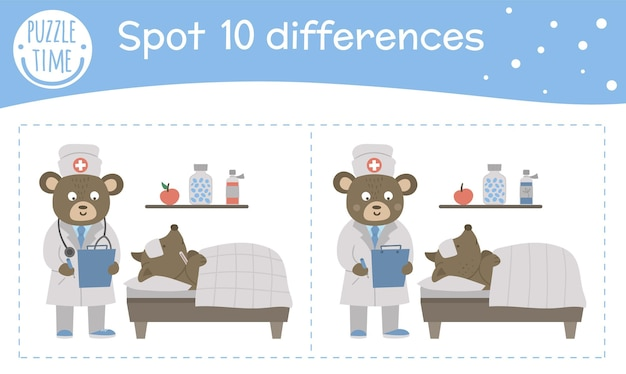 Medyczna gra o różnicach dla dzieci. działalność przedszkolna medycyny z lekarzem robiącym notatki w pobliżu łóżka pacjenta. puzzle z uroczymi zabawnymi uśmiechniętymi postaciami.