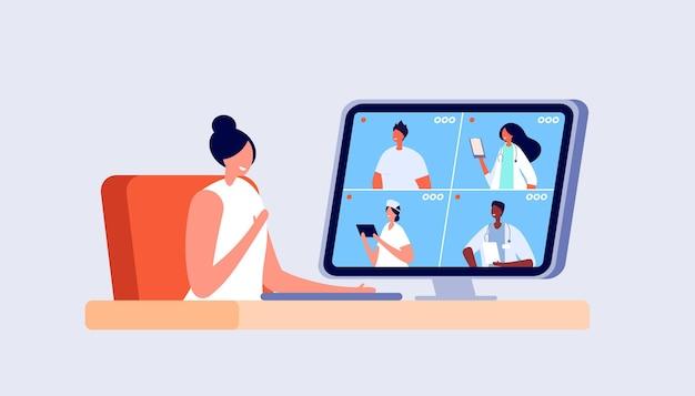 Medyczna konferencja online. konsultacja wideo z lekarzem, połączenie wideo z personelem szpitala. technologia opieki zdrowotnej, ilustracji wektorowych telemedycyny. lekarz konferencji online, konsultacje i diagnoza