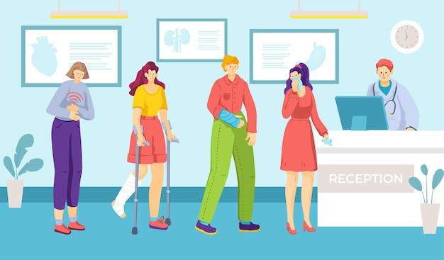 Medyczna ludzka klinika recepcja kolejka biurko pacjenta poczekalnia płaska ilustracja