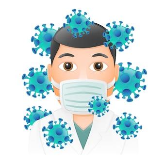 Medyczna maska emoji doktor twarzy. design art trendy komunikacja. elementy czatu. medyczna ochrona przed wirusami.