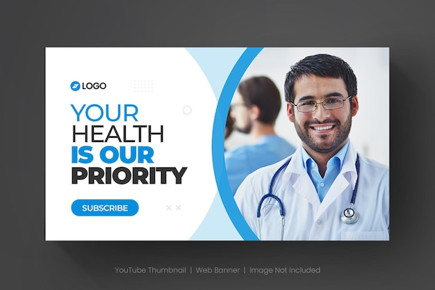 Medyczna miniatura youtube i szablon banera internetowego