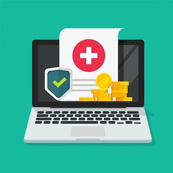 Medyczna ochrona zdrowia cyfrowa forma ubezpieczenia online na laptopie