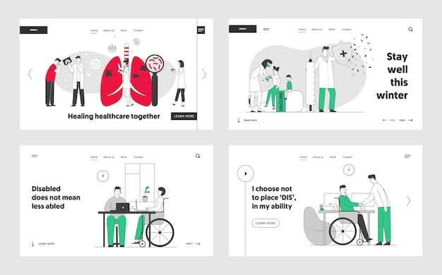 Medyczna opieka pulmonologiczna, szczepienia, zestaw stron docelowych dla osób niepełnosprawnych.