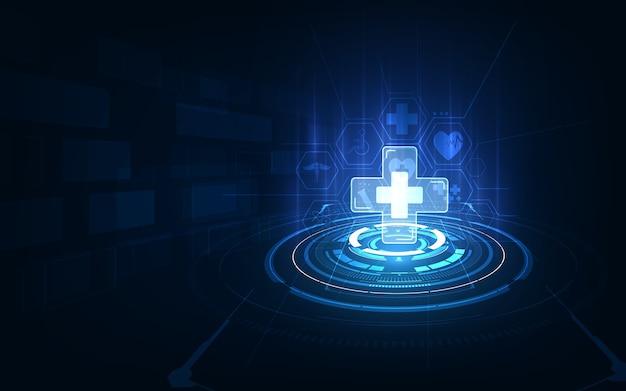 Medyczna opieka zdrowotna diagnostyka choroba koncepcja projekt tech tło