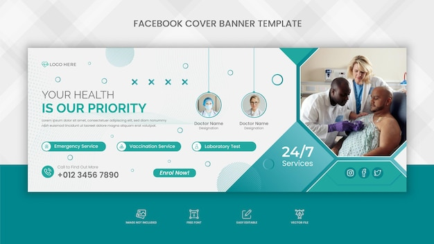 Medyczna opieka zdrowotna na facebooku - baner w tle