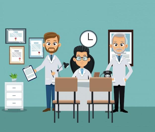 Medyczna praca zespołowa przy lekarki biurem