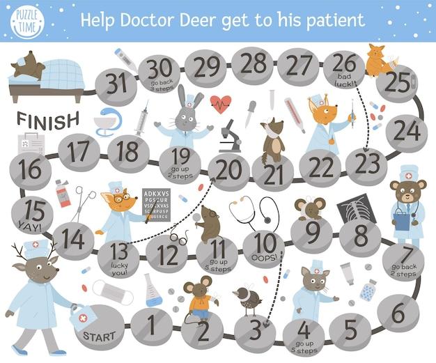 Medyczna przygodowa gra planszowa dla dzieci z uroczymi postaciami