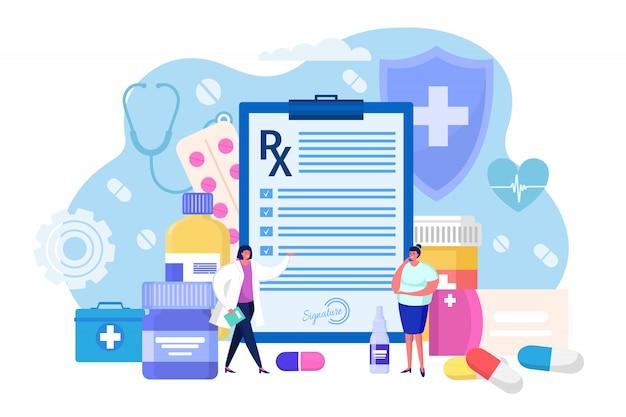 Medyczna recepta dla pacjenta szpitalnego, pojęcie ilustracja. osobisty lekarz pisze listę leków stosowanych w leczeniu chorób.