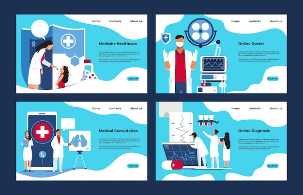 Medyczna strona docelowa. koncepcja diagnostyki i leczenia laboratorium farmacji z postaciami z kreskówek ludzi. ilustracja wektorowa makieta strony internetowej, jak koncepcja elektroniki zdrowie