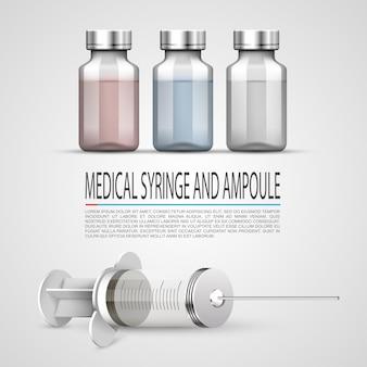 Medyczna strzykawka i ampułka, obiekty na białym tle. ilustracja wektorowa