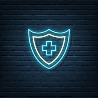 Medyczna tarcza neon znak wektor elementów