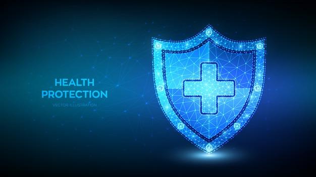 Medyczna tarcza ochronna z krzyżem. niski wielokąt symbol usługi ubezpieczenia zdrowotnego, medycznego i na życie.
