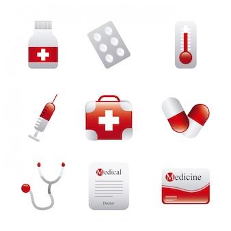 Medyczne ikony na białym tle ilustracji wektorowych
