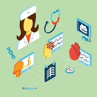 Medyczne izometryczne ikony