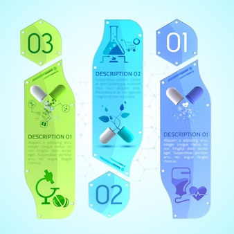 Medyczne pionowe banery z kapsułkami leczniczymi, ulotką dołączoną do opakowania i różnymi przedmiotami medycznymi
