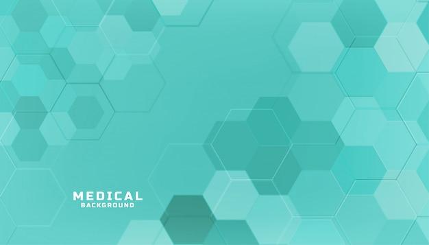 Medyczne pojęcie opieki zdrowotnej sześciokątne tło w kolorze turkusowym