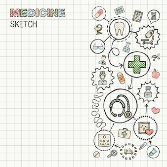 Medyczne ręcznie rysować zintegrowaną ikonę na papierze. infografika ilustracja kolorowy szkic. połączone kolorowe piktogramy doodle. opieka zdrowotna, lekarz, medycyna, nauka, interaktywna koncepcja farmacji