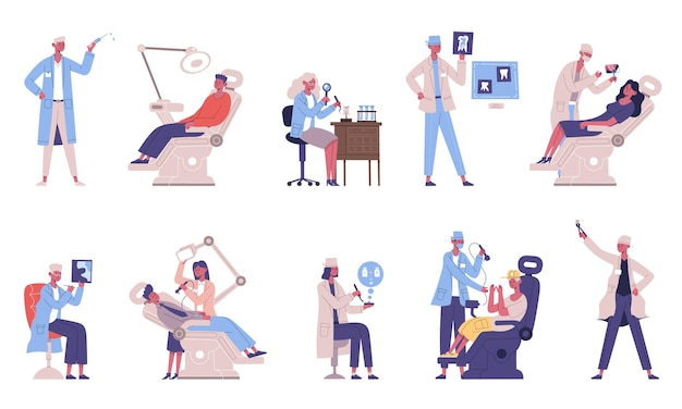 Medyczne stomatologiczne zęby kontrolne lekarz i postacie pacjenta. dentysta sprawdza zęby, dentyści medyczni bada zestaw ilustracji wektorowych pacjenta. higiena jamy ustnej i pielęgnacja zębów