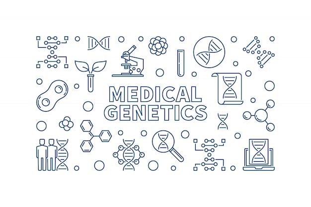 Medycznej genetyki medycyny pojęcia ikony liniowa ilustracja