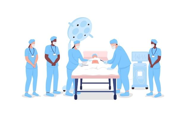 Medyczni stażyści oglądają profesjonalnych chirurgów w procedurze płaski kolor wektor znaków bez twarzy. szkolenie medyczne na białym tle ilustracja kreskówka do projektowania graficznego i animacji internetowej