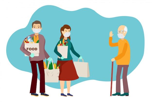Medyczni zamaskowani ochotnicy przynieśli jedzenie starszemu mężczyźnie. wolontariuszem pracownik socjalny dostarcza żywność starszemu mężczyźnie. koronawirus pandemia. epidemia. płaska ilustracja. opieka nad osobami starszymi.