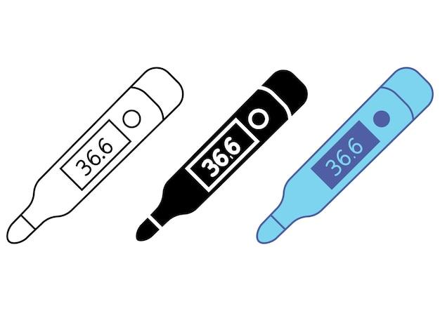 Medyczny cyfrowy elektroniczny klasyczny termometr. wyposażenie medyczne. ikona sprawdzania temperatury. znak pomiaru temperatury ciała. piktogram na stronę internetową, aplikację mobilną, promo. wektor na białym tle