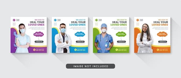 Medyczny i opieki zdrowotnej szablon postu na instagramie w mediach społecznościowych