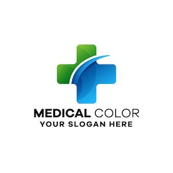 Medyczny kolorowy szablon logo gradientu