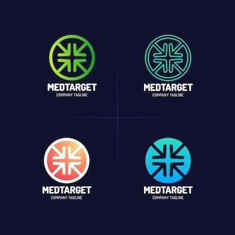 Medyczny krzyż cel ikona logo design z czterema strzałkami.