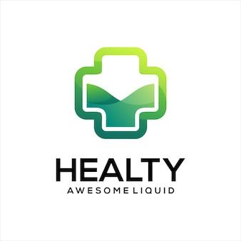 Medyczny krzyż logo gradientowy zielony kolor