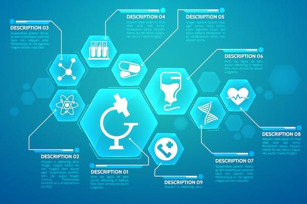 Medyczny niebieski plakat z płaską ilustracją symboli leczenia i nauki
