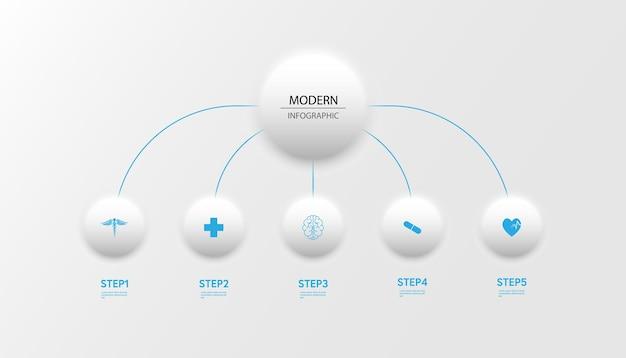 Medyczny plansza cienka linia procesu z kwadratowym szablonem projektu z ikonami i 5 opcjami lub krokami. ilustracja wektorowa.