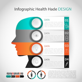 Medyczny plansza projekt głowy szablon. układ graficzny lub strona internetowa