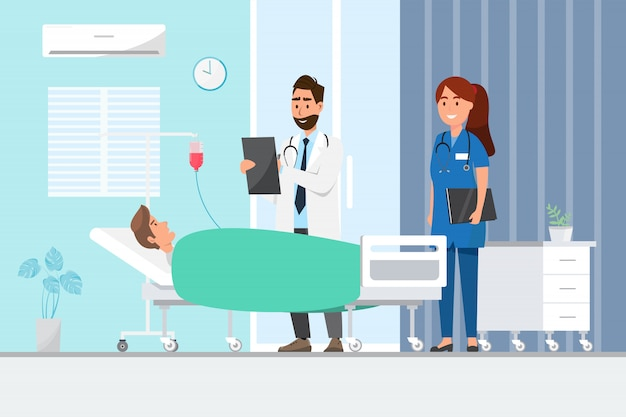Medyczny pojęcie z lekarką i pacjentami w płaskiej kreskówce na szpitalnej sala