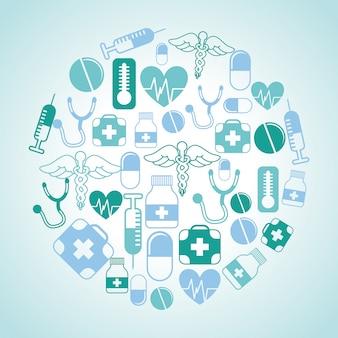 Medyczny projekt na niebieskim tle ilustracji wektorowych