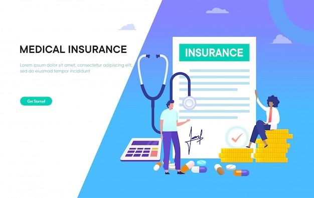 Medyczny rodzinnego ubezpieczenia ilustracyjny pojęcie, ludzie z lekarką pełnią zdrowie formę, z kalkulatorem i monetą
