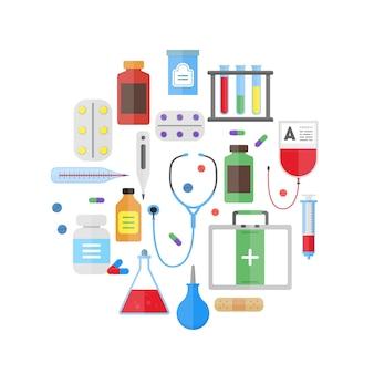 Medyczny sprzęt opieki zdrowotnej okrągły projekt szablonu ikona na jasnym tle.