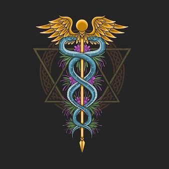 Medyczny symbol kaduceusz ilustracja opieki zdrowotnej