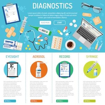 Medyczny sztandar i infografiki