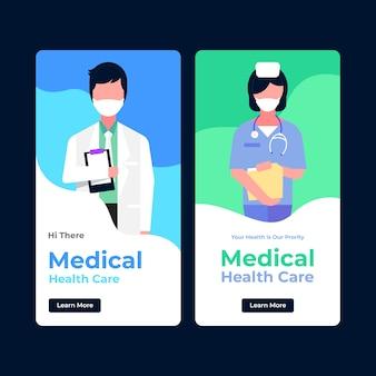 Medyczny transparent opieki zdrowotnej z lekarzem i pielęgniarką