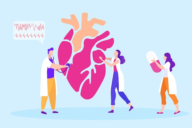 Medyczny w białych żakietów uczniach studiuje serce