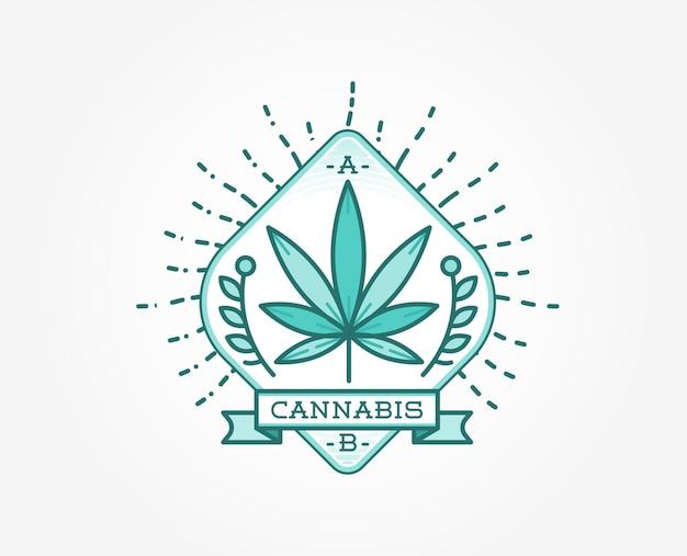 Medyczny znak marihuany marihuany lub szablon etykiety w formacie.