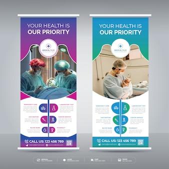 Medyczny zwinąć szablon projektu transparentu dla szpitala