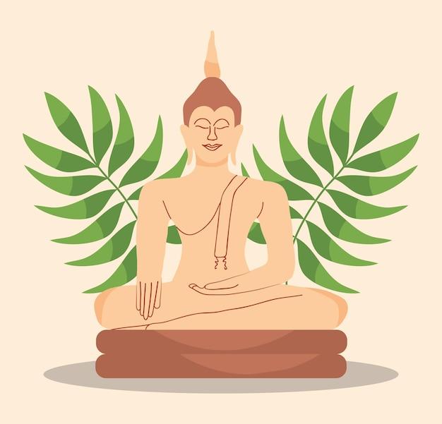 Medytacja buddy i tropikalnych liści ilustracja