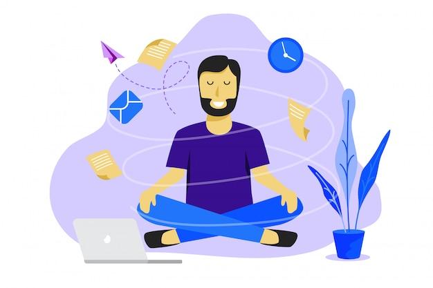 Medytacja człowiek w pracy. biznesowy pracujący projekta pojęcie