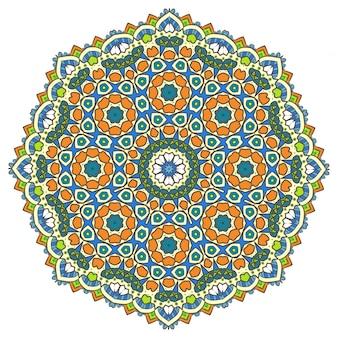 Medytacja etniczna fractal mandala vector wygląda jak snowflake lub maya aztec
