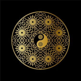 Medytacja ikona szablon ze złotym yin yang zaloguj się w zarysie mandali na czarnym tle ilustracji wektorowych liniowy. tradycyjny projekt symbolu orientalnego. azjatycka koncepcja kultury i równowagi